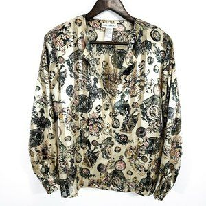 Martinique Womens Vintage Scarf Print Top Tan Gold